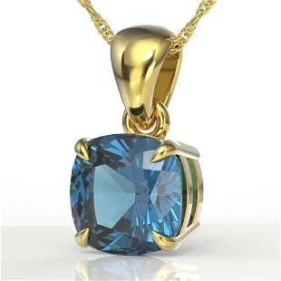 1.50 ctw Cushion London Blue Topaz Designer Necklace