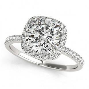 0.75 ctw Certified VS/SI Cushion Diamond Halo Ring 14k
