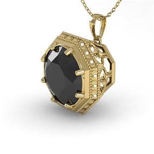 1.50 ctw Black Diamond Necklace Art Deco 14k Yellow