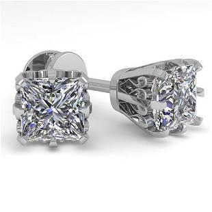 1.0 ctw VS/SI Princess Diamond Stud Earrings Vintage