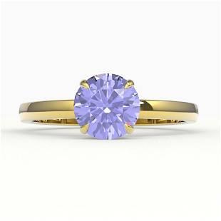 2 ctw Tanzanite Designer Engagment Ring 18k Yellow Gold