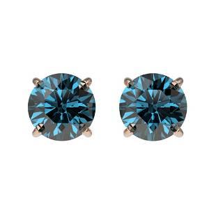 1.08 ctw Certified Intense Blue Diamond Stud Earrings