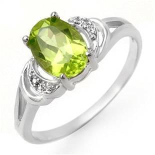 1.55 ctw Peridot & Diamond Ring 10k White Gold -