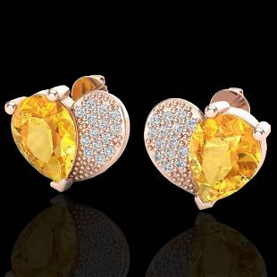 2.50 ctw Citrine & Micro Pave VS/SI Diamond Earrings