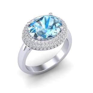 5 ctw Sky Blue Topaz & Micro Pave VS/SI Diamond Ring