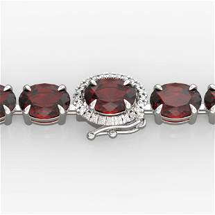 19.25 ctw Garnet & Diamond Eternity Micro Bracelet 14k
