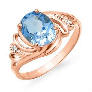 2.53 ctw Blue Topaz & Diamond Ring 14k Rose Gold -