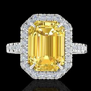 4.50 ctw Citrine & Micro Pave VS/SI Diamond Ring 18k