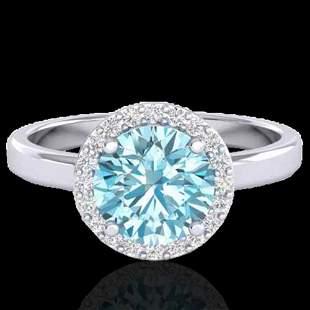 2 ctw Sky Blue Topaz & Halo VS/SI Diamond Micro Ring