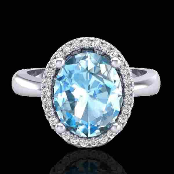 3 ctw Sky Blue Topaz & Micro Pave VS/SI Diamond Ring