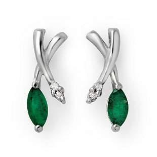 0.50 ctw Emerald & Diamond Earrings 10k White Gold -