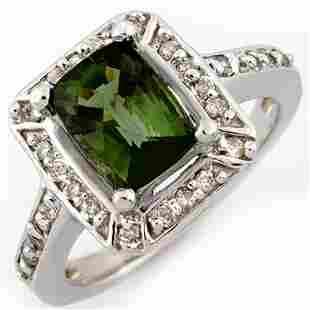 2.40 ctw Green Tourmaline & Diamond Ring 14k White Gold