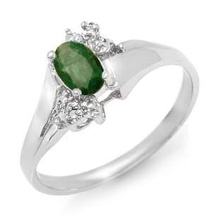 0.62 ctw Emerald & Diamond Ring 10k White Gold -