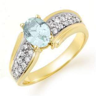 1.20 ctw Aquamarine & Diamond Ring 10k Yellow Gold -