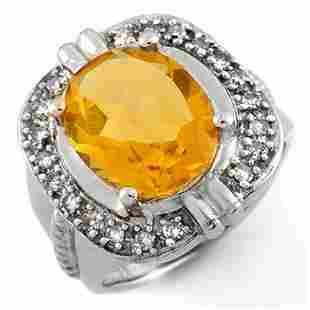 4.68 ctw Citrine & Diamond Ring 14k White Gold -
