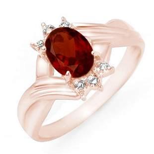 1.04 ctw Garnet & Diamond Ring 14k Rose Gold -