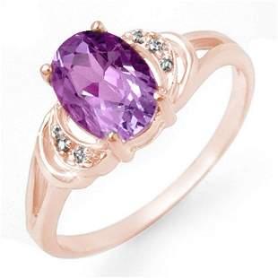1.05 ctw Amethyst & Diamond Ring 14k Rose Gold -