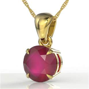 2 ctw Ruby Designer Solitaire Necklace 18k Yellow Gold