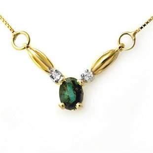 1.30 ctw Emerald & Diamond Necklace 10k Yellow Gold -