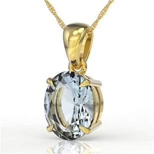 2.5 ctw Aquamarine Designer Necklace 18k Yellow Gold -
