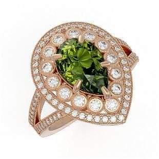 5.02 ctw Certified Tourmaline & Diamond Victorian Ring