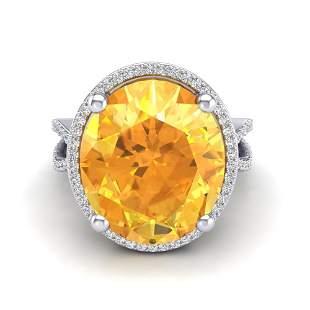 10 ctw Citrine & Micro Pave VS/SI Diamond Ring 18k