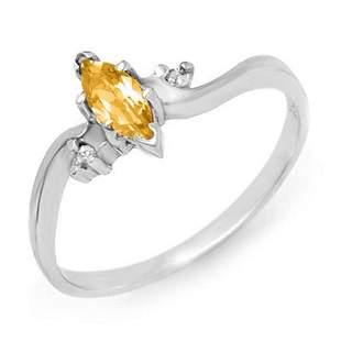0.29 ctw Citrine & Diamond Ring 14k White Gold -