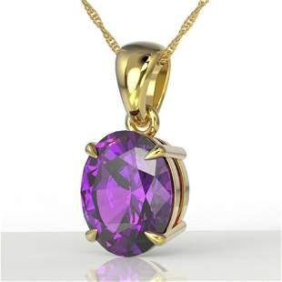 2.5 ctw Amethyst Designer Necklace 18k Yellow Gold -