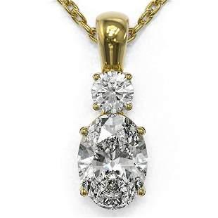 0.9 ctw Oval Cut Diamond Designer Necklace 18K Yellow