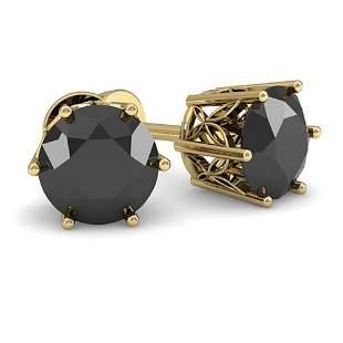 1.0 ctw Black Diamond Stud Art Deco Earrings 14k Yellow