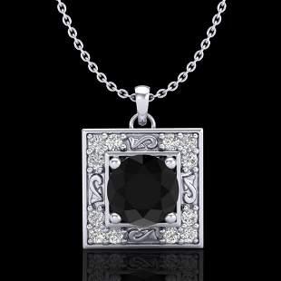 1.02 ctw Fancy Black Diamond Art Deco Stud Necklace 18k