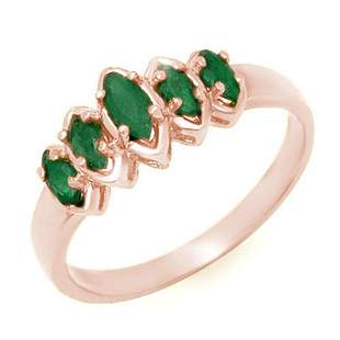 0.50 ctw Emerald Ring 14k Rose Gold - REF-16H3R