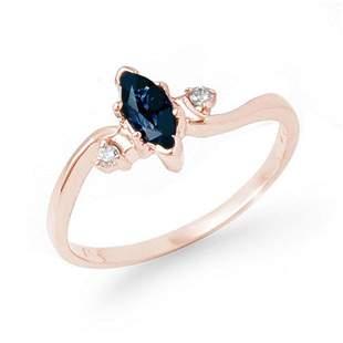 0.42 ctw Blue Sapphire & Diamond Ring 14k Rose Gold -