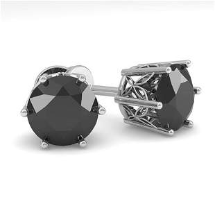 3.0 ctw Black Diamond Stud Art Deco Earrings 14k White