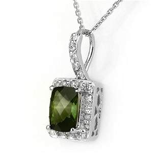 2.25 ctw Green Tourmaline & Diamond Necklace 14k White