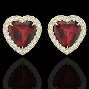 2.22 ctw Garnet & Micro Pave Diamond Earrings Heart 14k
