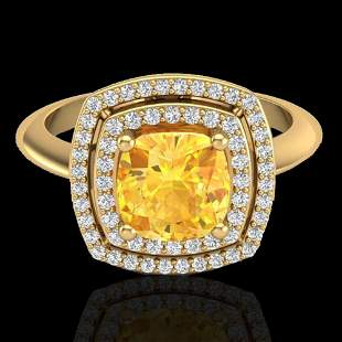 1.77 ctw Citrine & Micro VS/SI Diamond Pave Ring 18k