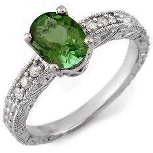 2.68 ctw Green Tourmaline & Diamond Ring 14k White Gold