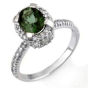 2.10 ctw Green Tourmaline & Diamond Ring 14k White Gold
