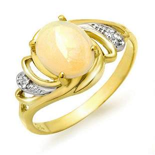 1.05 ctw Opal & Diamond Ring 10k Yellow Gold -