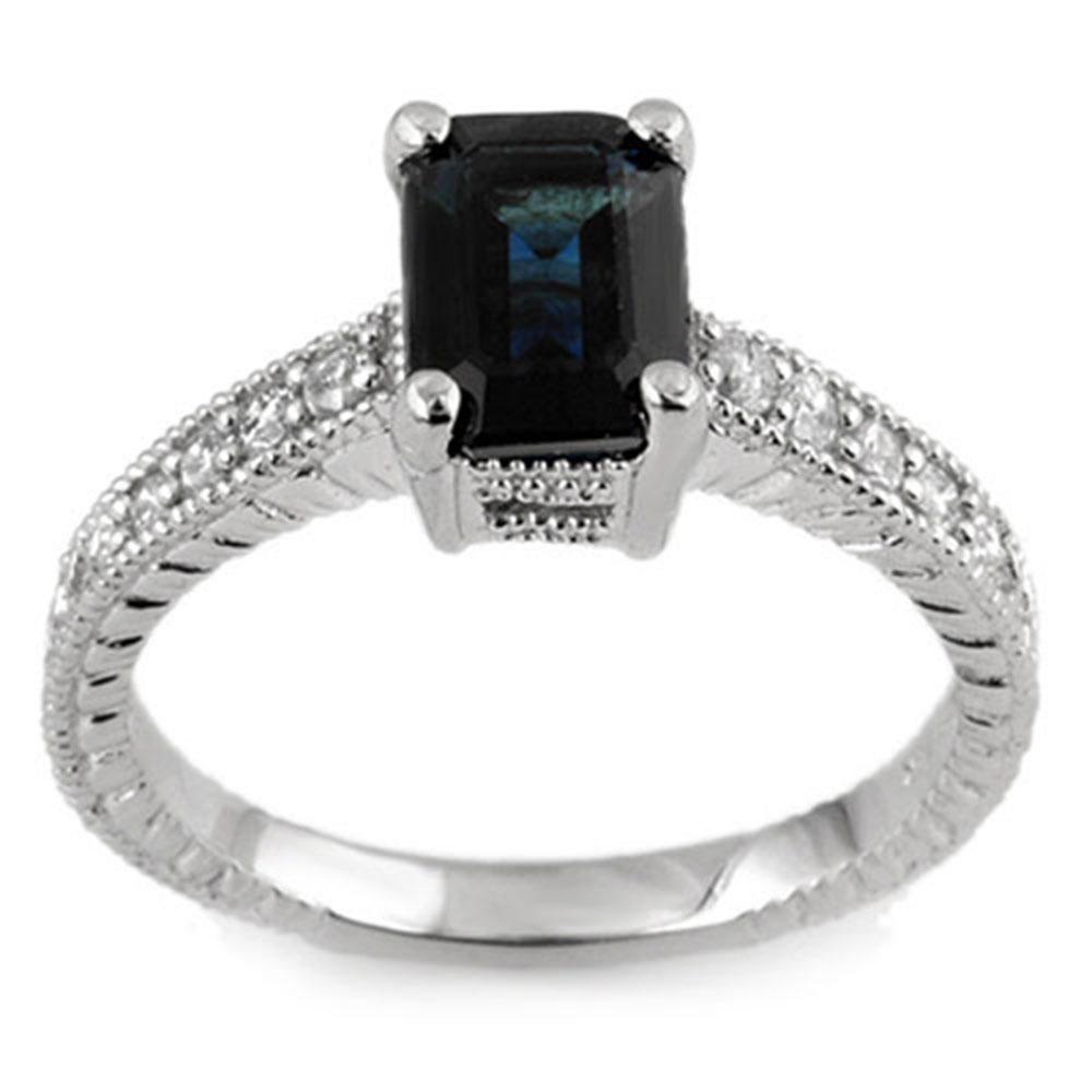 2.65 ctw Blue Sapphire & Diamond Ring 18k White Gold -