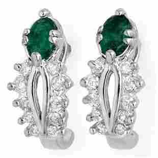 0.85 ctw Emerald & Diamond Earrings 10k White Gold -