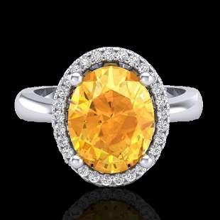 2.50 ctw Citrine & Micro Pave VS/SI Diamond Ring 18k