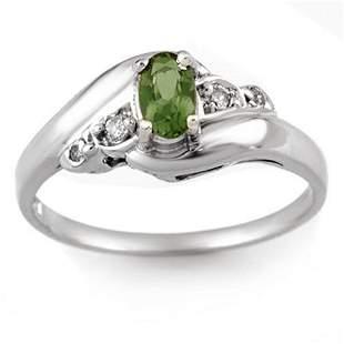 0.42 ctw Green Tourmaline & Diamond Ring 14k White Gold