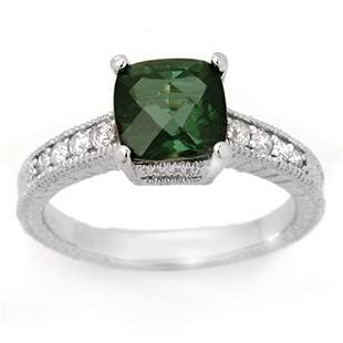 2.25 ctw Green Tourmaline & Diamond Ring 14k White Gold