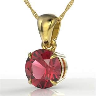 2 ctw Pink Tourmaline Designer Necklace 18k Yellow Gold