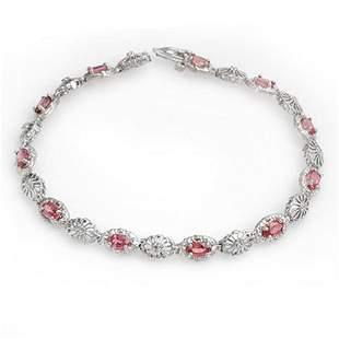 3.83 ctw Red Sapphire & Diamond Bracelet 10k White Gold