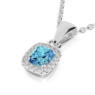 1.25 ctw Sky Blue Topaz & Micro VS/SI Diamond Halo