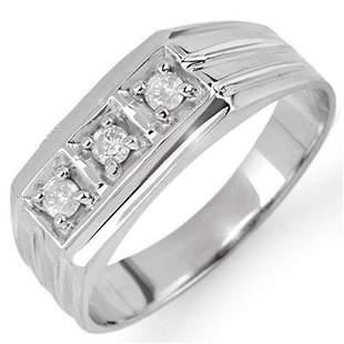 0.20 ctw Certified VS/SI Diamond Men's Ring 18k White