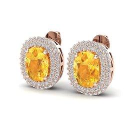 6 ctw Citrine & Micro Pave VS/SI Diamond Earrings 14k